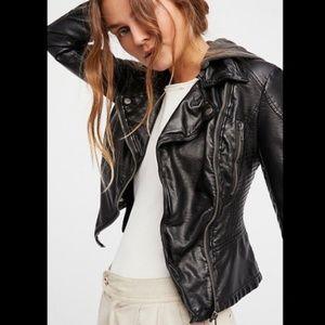 Free People Hooded Vegan Leather Moto Jacket